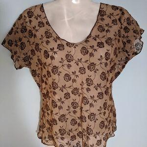 Women's sheermesh brownrose cap sleeves top blouse